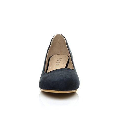 Charm Navy Blue Faux Suede Low Heel Round Toe Comfort Court Shoes 9lMv5vzMXv