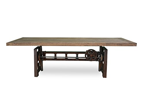 Superior Industrial Wood + Metal Yorkshire Industrial Cast Iron Crank Dining Table,  84 Inch Reclaimed White Oak Top, Charcoal Base