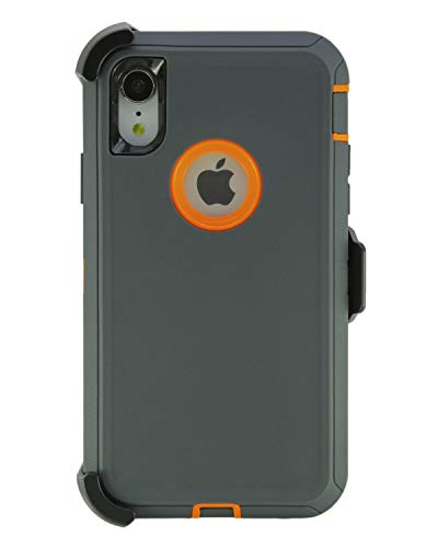 WallSkiN Turtle Series Cases for iPhone XR (Only) Tough Protection with Kickstand & Holster - Charcoal (Dark Grey/Orange)
