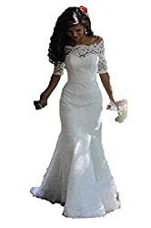 SIQINZHENG Women's Off The Shoulder Lace Wedding Dresses Half Sleeve Mermaid Bridal Gowns