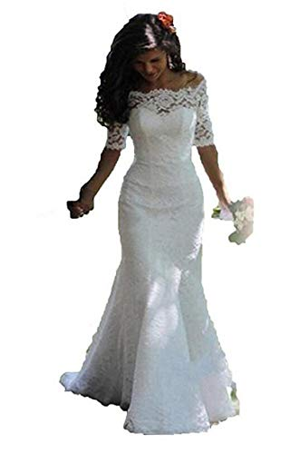 SIQINZHENG Women's Off The Shoulder Lace Wedding Dresses Half Sleeve Mermaid Bridal Gowns White