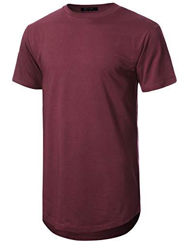 GIVON Mens Lightweight Hipster Hip Hop Elong Round Hemline Tri-Blend Rayon Modal Cotton Crewneck T-Shirt/DCT070-BURGUNDY-S