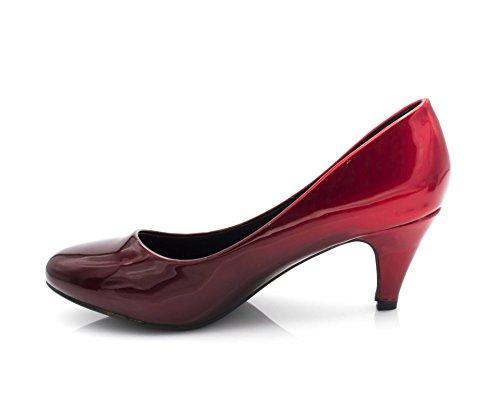 de Mujer Fashion de Vestir Zapatos Negro Shoes Charol Y Rojo wrqpqY7EfW