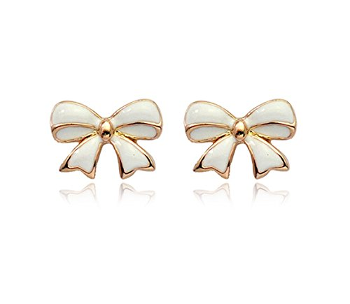 Simple Gold Tone Bow Tie Ribbon Stud Earrings Fashion Jewelry for Women (White)