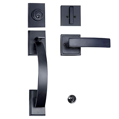 TOGU HS27D Heavy Duty Single Cylinder Handleset with Wave Style Lever Door Handle,Solid Entry Door Lockset Leverset for Home Exterior Doors,Easy Installation,Oil Rubbed Bronze ()