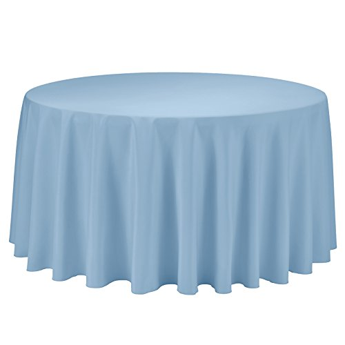 VEEYOO Round Tablecloth 100% Polyester Circular Bridal Shower Table Cloth - Solid Soft Dinner Table Cover for Wedding Party Restaurant (Baby Blue, 108 inch)