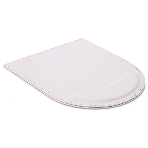 KINGFOM Leather Gaming Mouse Pad/Mat with Wrist Rest Support, Non Slip Mousepad - Large (white)