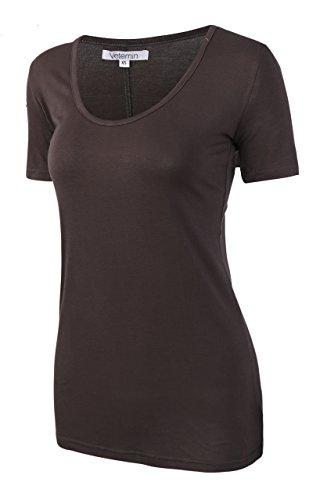 Vetemin Women's Premium Basic Fitted Soft Short Sleeve Deep V Neck T shirt Tee
