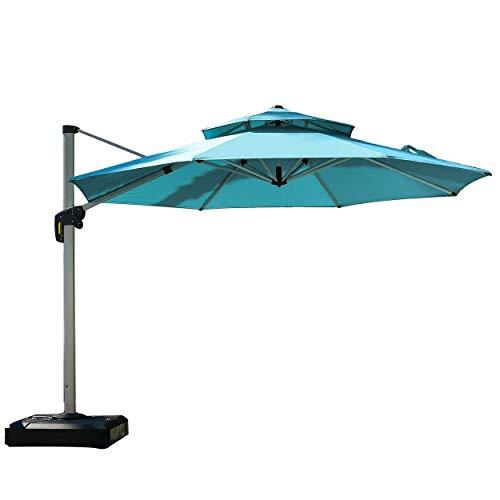 PURPLE LEAF 11 Feet Double Top Round Deluxe Patio Umbrella Offset Hanging Umbrella Outdoor Market Umbrella Garden Umbrella, Turquoise Blue (Depot Yard Swing Home)