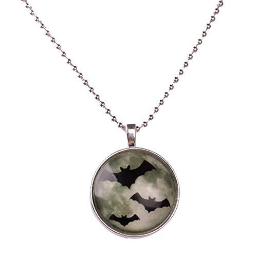 Noctilucent Halloween Cabochon Glass Art bat Pendant Necklace Chain ()