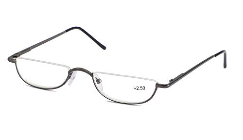 SOOLALA Vintage Designer Alloy Flat Top Half Frame Stylish Slim Reading Glasses, Gun, ()