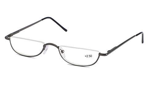 SOOLALA Vintage Designer Alloy Flat Top Half Frame Stylish Slim Reading Glasses, Gun, 1.0