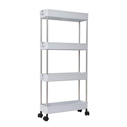 uxcell 4 Tiers Gap Storage Organizer Rack Shelf with Wheels, Slide Out Fridge Storage Tower Rack Slim Gap Storage Cart for Laundry/Bathroom/Kitchen, -