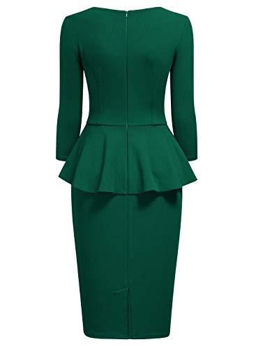 Vestido Negocios Miusol De Mujer Oscuro 1 Verde Fiesta Para Lápiz Peplum dAtwrIqt