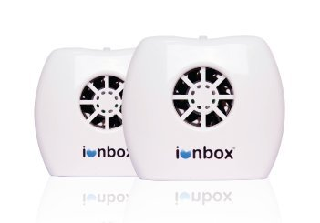 IonPacific ionbox, Negative Ion Generator with Highest Output - Up to 20 Million Negative Ions/Sec, Filterless Mobile Ionizer & Travel Air Purifier USB Eliminates: Pollutants, Allergens, Mold (2-Pack)