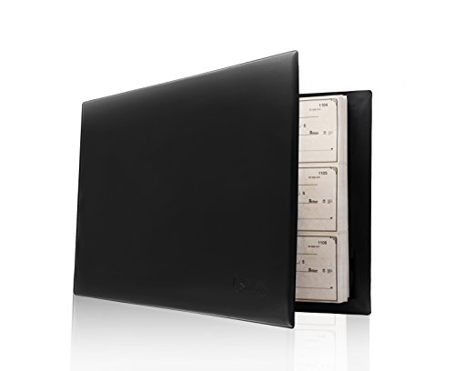 600 Checks Capacity 14.2 x 2 x 9.9 Inches Black Perfect for Storing and Protecting Copy Checks Check Binder 3-On-A-Page Business Checkbook Holder with 7 Rings