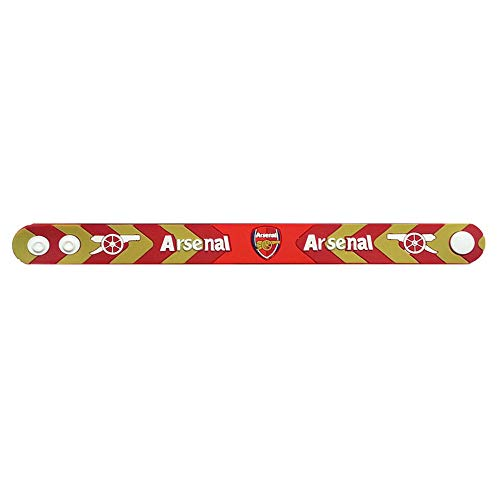 ZQfans Official Football Club Team Logo PVC Wristband Adjustable Button Bracelet (Arsenal, 8.5x0.8 inch)