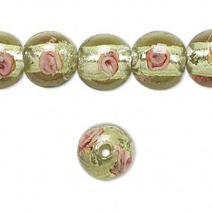 Bead, lampworked glass, light green and pink with silver-colored foil, 12mm round