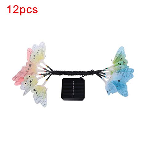litymitzromq Fairy Lights Twinkle Lights, 12-LED Fiber Optic Butterfly Solar Waterproof Light Lamp Christmas Decor Home Garden Party Wedding Bedroom Window Curtain Decoration