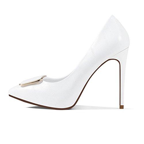 EU Mariage Talons Tennis Hauts UK 11cm De étanche Mode Cuir Chaussures Femme Sexy White en Travail Blanc Plateforme Chaussures 35 3 Nightclub Strass Party Femmes P5xzwEz1q