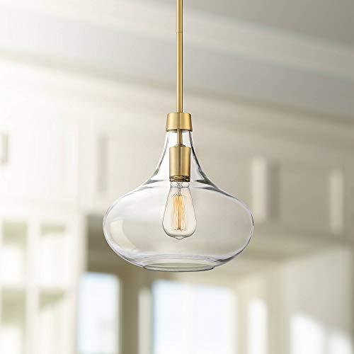 """Possini Euro Asni 11"""" Wide Warm Antique Brass Mini Pendant - Possini Euro Design"""
