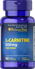 L-Carnitine 500 mg Carnitine 500 mg 60 Caplets Free Form Made in USA by Puritan's Pride