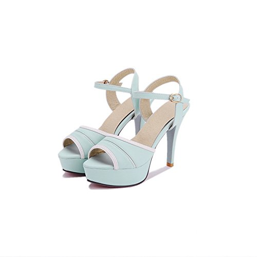 1TO9 Womens Firm-Ground Structured Peep-Toe Urethane Sandals MJS03109 Blue QZqMWf69