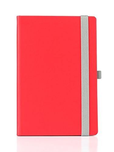 Red Hardcover UberWorks WORDSMITH Medium A5 Plain/Blank Notebook Journal/Travel Sketchbook with Pen Loop Holder, Elastic Closure, 192 Pages Creme Paper, Folder Pocket (Creme Paper)