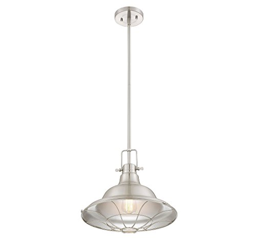 Trade Winds Lighting 1-Light Industrial Steel Hanging Pendant in Brushed Nick