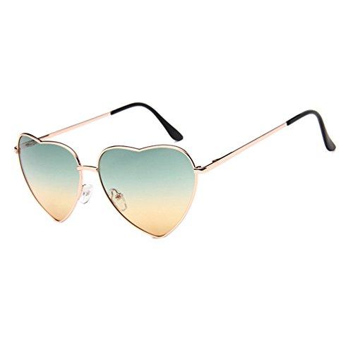 Colores Corazón Marco de Naranja LINNUO Metal de Retro Gafas Dorado Aviador Eyewear Sol Marco Forma de Hombres Verde Sunglasses Mujer wq7x4txOC