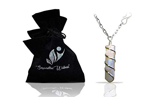 Moonstone Crystal Healing Necklace - for Crown Chakra. Brings Hope, Luck, Abundance. Relieves Emotional Stress. Enhances Intuition, Psychic Abilities, Sensitivity. with Stylish Stainless Steel Chain