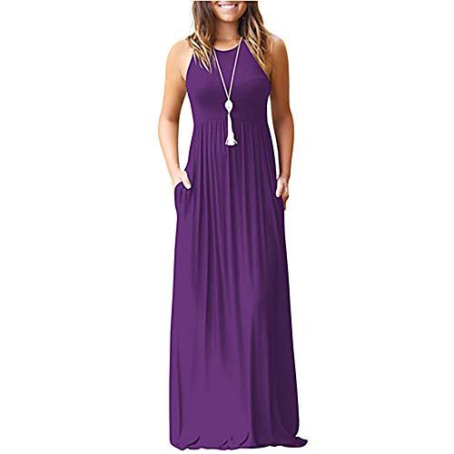 Mujer Vestido TTDRESS Purple Primavera Delgado S Vaina Maxi Btfqdfw