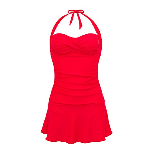 MEATFLY.Women's Skirted Swimdress One Piece Swimsuit Bathing Suit Swimwear (Red, US 6-8=Tag Size L)
