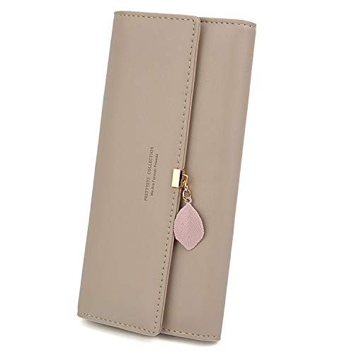 UTO Women PU Leather Wallet Large Capacity Leaf Pendant Card Phone Holder Checkbook Organizer Girls Zipper Coin Purse Khaki