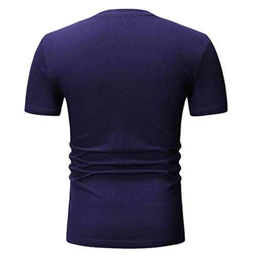 kanyankeji Summer Hawaiian Men's Short Sleevee Tops T-Shirts Blouse for Men Navy by kanyankeji (Image #2)