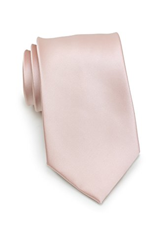 Bows-N-Ties Men's Necktie Solid Color Microfiber Satin Tie 3.25 Inches (Blush Pink) by PUCCINI