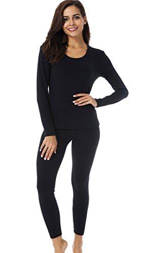 HieasyFit Women's Thermal Underwear Fleece Lined Winter Base Layer Set(Black L) - Fleece Thermal Underwear