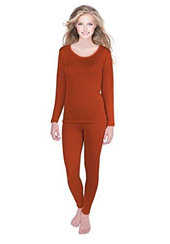 Rocky Womens Thermal 2 Pc Long John Underwear Set Fleece Lined Top and Bottom(Large, Rust- Fleece ()