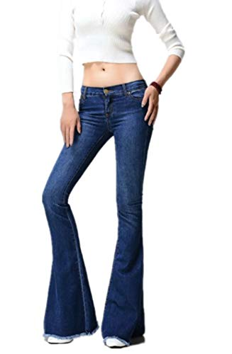 - GALMINT Women's Juniors Bell Bottom High Waisted Fitted Flared Denim Jeans Pants (US 6, Light Blue 1)