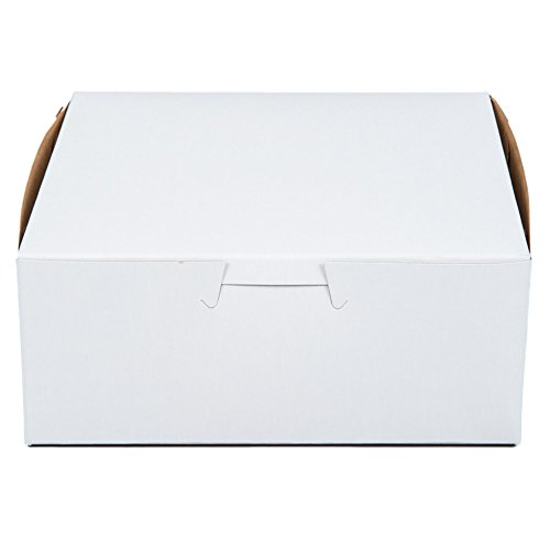 MT Products 6' x 6' x 2.5' Clay Coated Kraft Paperboard White Non-Window Lock Corner Bakery Box (Pack of 15)