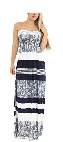 Loxdonz Women's Floral Casual Beach Party Maxi Dress Long Summer Dresses (XX-Large, Abstract ()