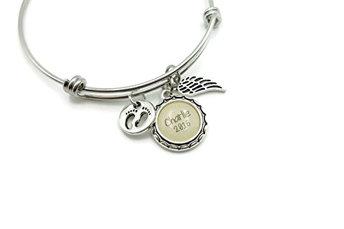 Baby In Heaven Personalized Memorial Bracelet, Small Angel Wing, Footprints, Child Name and Date