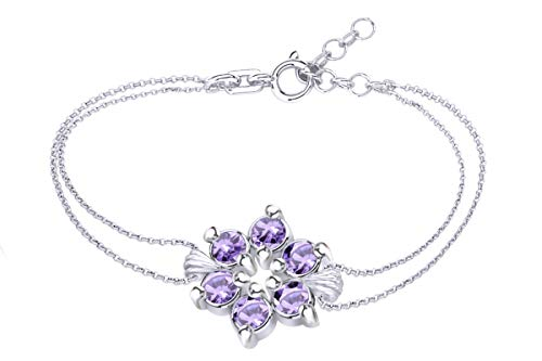 AFFY Round Shape Simulated Alexandrite Flower Chain Bracelets in 14k White Gold Over Sterling Silver -8.5