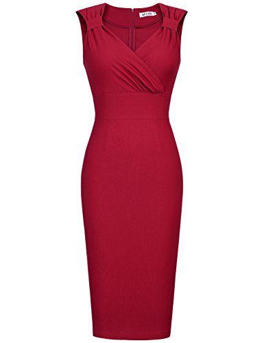 MUXXN Women Pure Cut Out Neck Tunic Tea Cocktail Prom Bodycon Dress (Burgundy XL)
