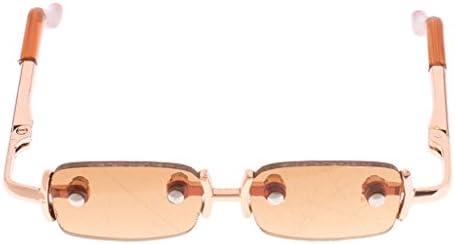 眼鏡 正方形 人形メガネ 1/3 BJD ドール人形のため 銅製 衣装アクセサリー 3色  - 褐色