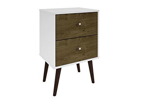 Manhattan Comfort Liberty Collection Mid Century Modern Nightstand With Two Drawers, Splayed Legs, - Wood Dark Manhattan