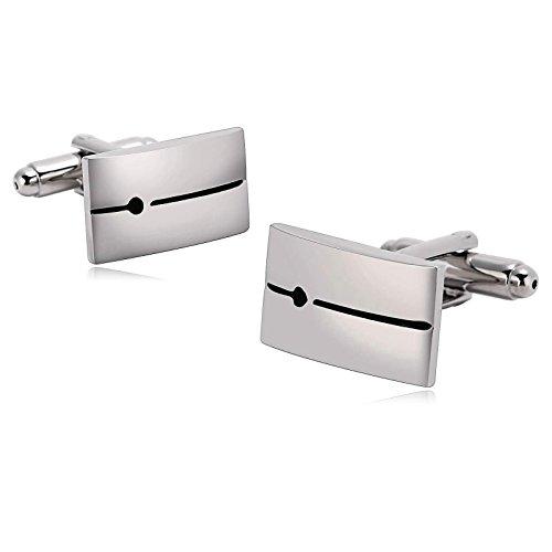 KnSam Stainless Steel Cufflinks for Mens Stripe Rectangle Dot Pattern Silver Black Shirt Stud