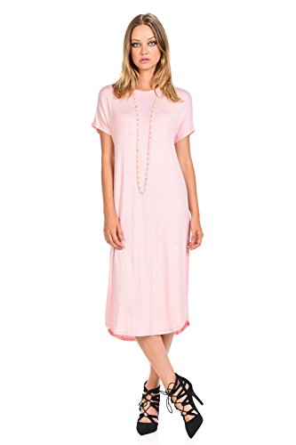 iconic luxe Women's A-Line Short Sleeve Midi Dress X-Large Pink