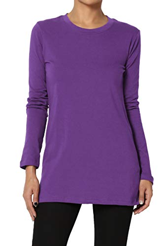 TheMogan Women's Crew Neck Long Sleeve Stretch Cotton Slim Fit Top Purple M