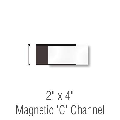 SmartSign Pack of 25 Magnetic''C'' Channel Label Holders | 2'' x 4'' by SmartSign